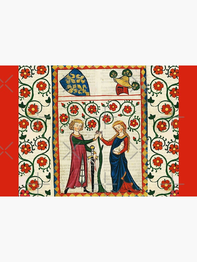 GERMAN POET WITH HIS BELOVED LADY ,MEDIEVAL MINIATURE WITH WILD ROSES by BulganLumini