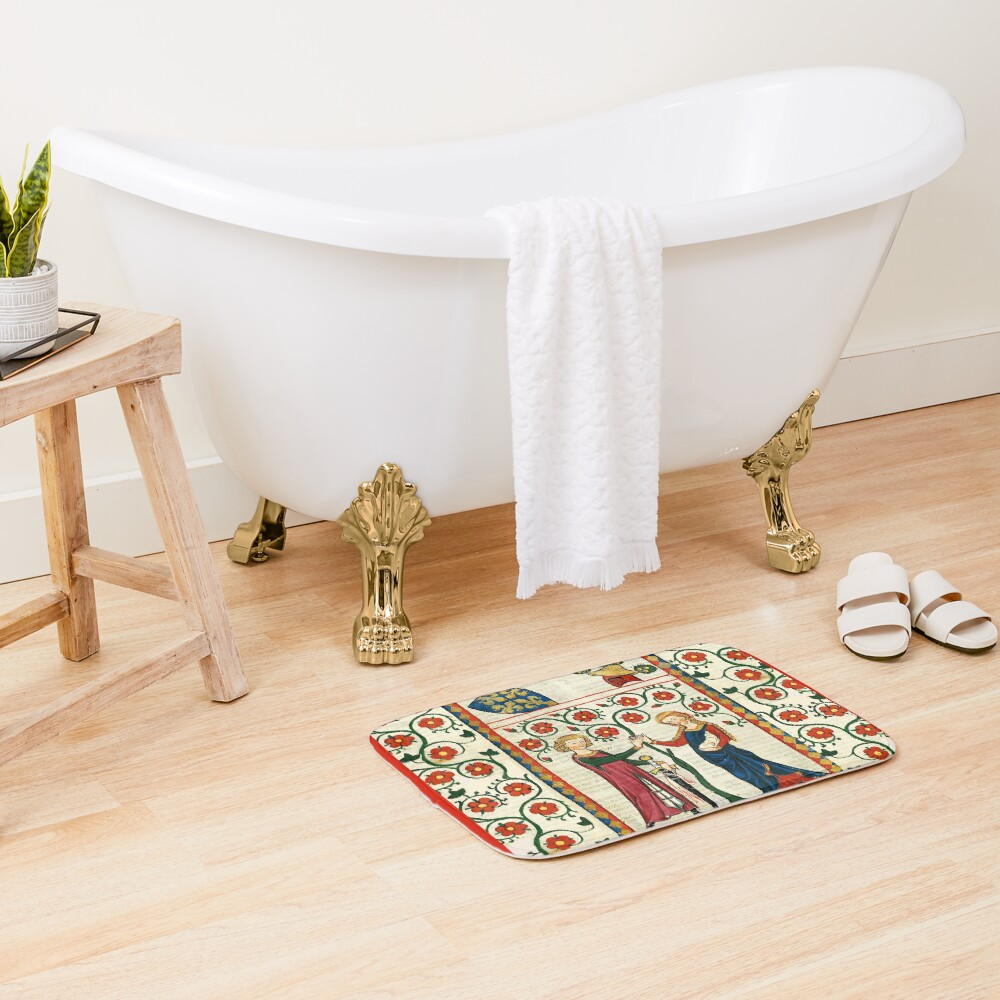 GERMAN POET WITH HIS BELOVED LADY ,MEDIEVAL MINIATURE WITH WILD ROSES Bath Mat