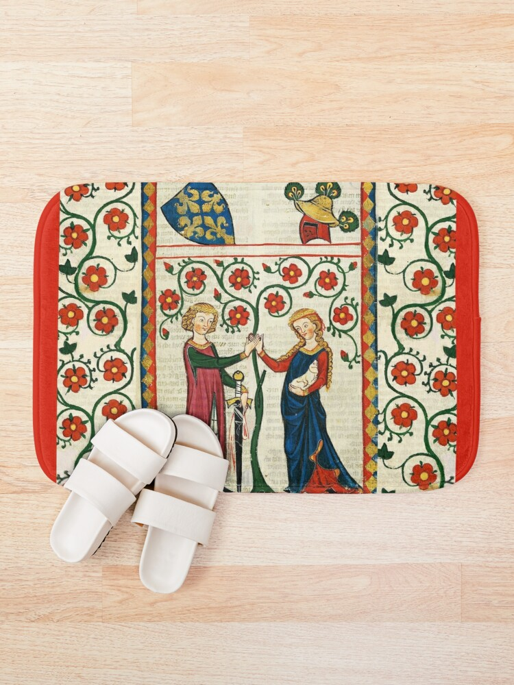 Alternate view of GERMAN POET WITH HIS BELOVED LADY ,MEDIEVAL MINIATURE WITH WILD ROSES Bath Mat