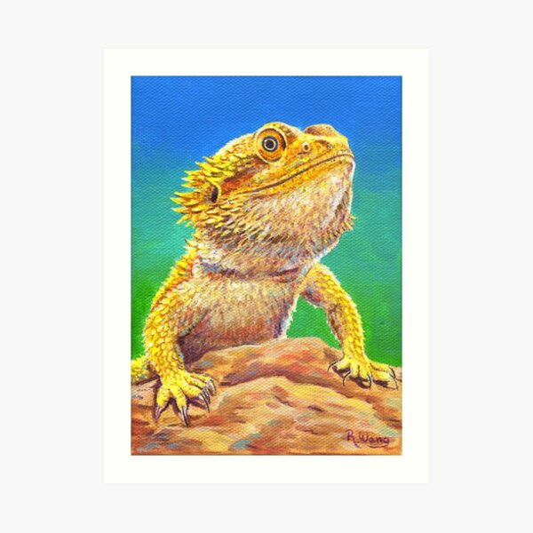 Bearded Dragon Lizard Portrait Art Print