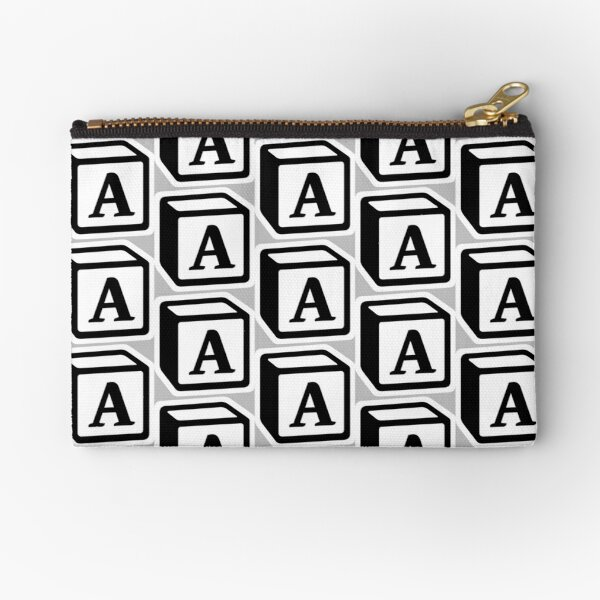 "Letter ""A"" Block Personalised Monogram Zipper Pouch"