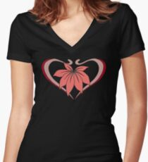 Love, heart with flower, pink red Women's Fitted V-Neck T-Shirt