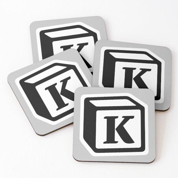"Letter ""K"" Block Personalised Monogram Coasters (Set of 4)"