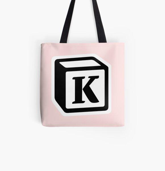 "Letter ""K"" Block Personalised Monogram All Over Print Tote Bag"