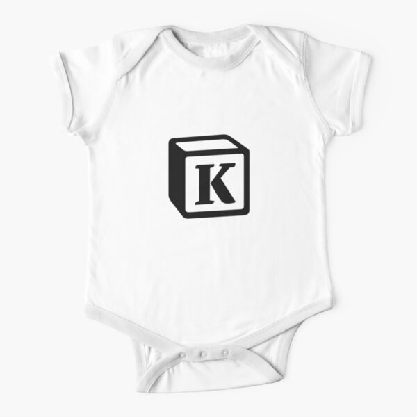 "Letter ""K"" Block Personalised Monogram Short Sleeve Baby One-Piece"