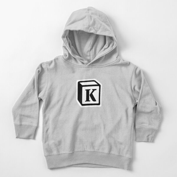 "Letter ""K"" Block Personalised Monogram Toddler Pullover Hoodie"