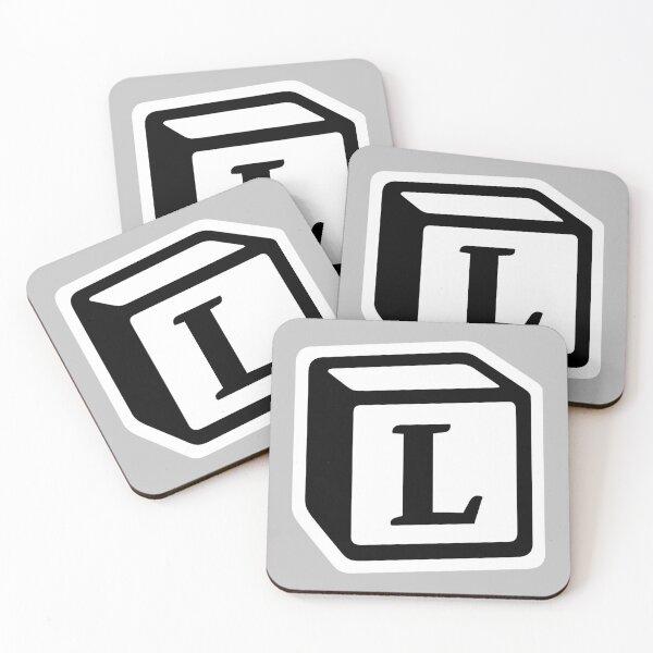 "Letter ""L"" Block Personalised Monogram Coasters (Set of 4)"
