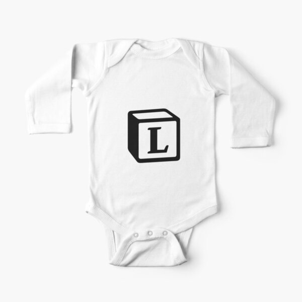"Letter ""L"" Block Personalised Monogram Long Sleeve Baby One-Piece"