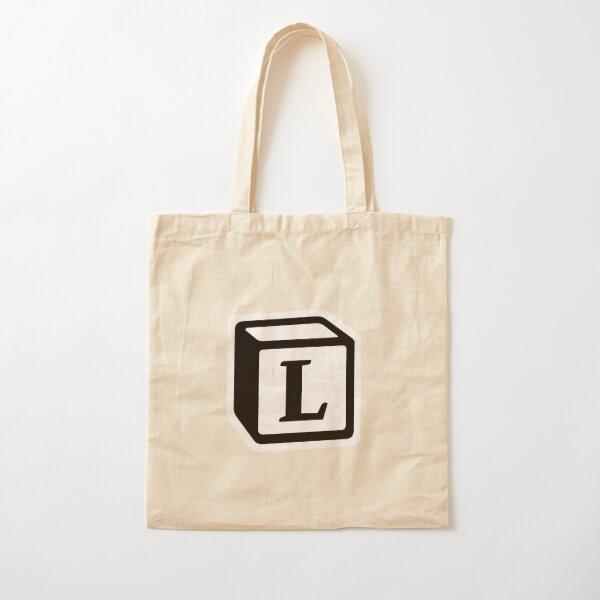 "Letter ""L"" Block Personalised Monogram Cotton Tote Bag"
