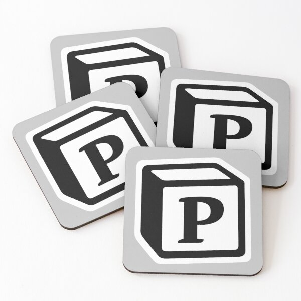 "Letter ""P"" Block Personalised Monogram Coasters (Set of 4)"