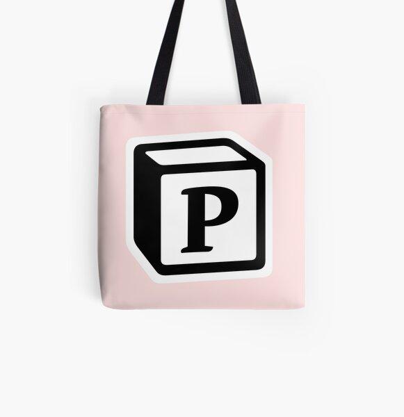 "Letter ""P"" Block Personalised Monogram All Over Print Tote Bag"