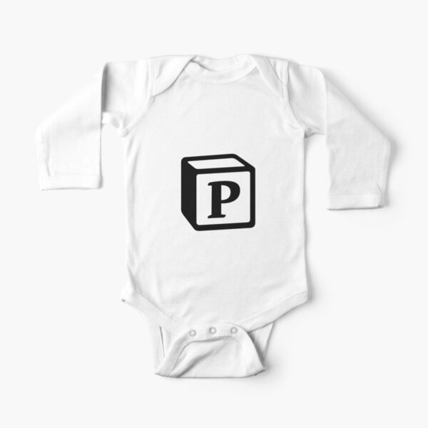 "Letter ""P"" Block Personalised Monogram Long Sleeve Baby One-Piece"