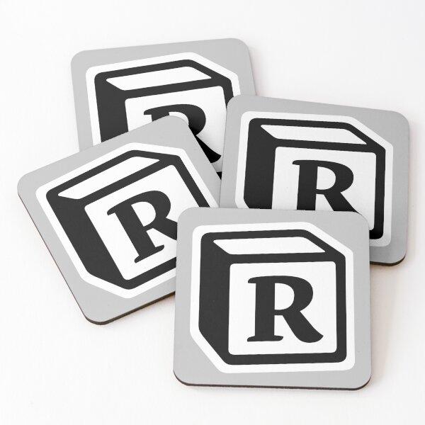 "Letter ""R"" Block Personalised Monogram Coasters (Set of 4)"
