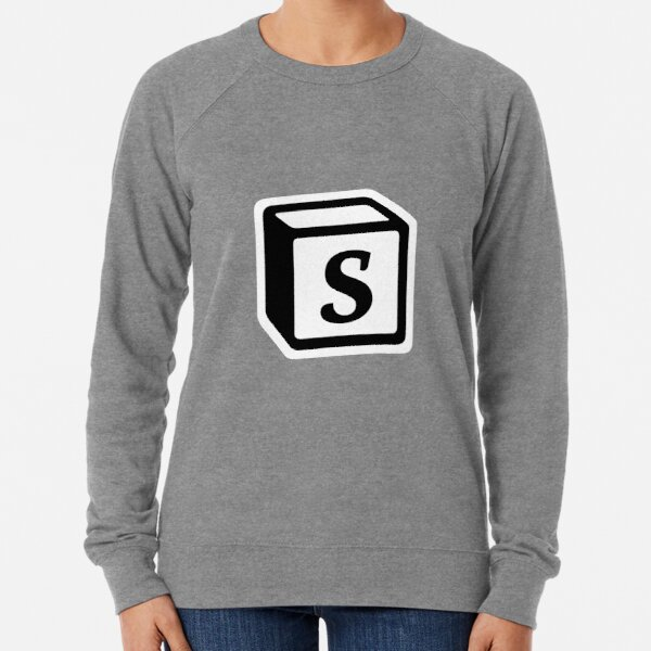 "Letter ""S"" Block Personalised Monogram Lightweight Sweatshirt"