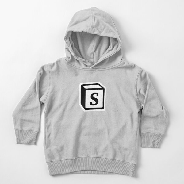 "Letter ""S"" Block Personalised Monogram Toddler Pullover Hoodie"