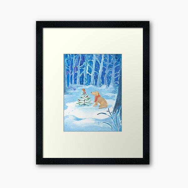 Dog winter magic Framed Art Print