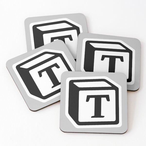 "Letter ""T"" Block Personalised Monogram Coasters (Set of 4)"