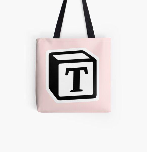 "Letter ""T"" Block Personalised Monogram All Over Print Tote Bag"