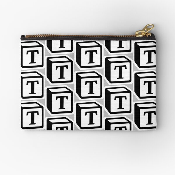 "Letter ""T"" Block Personalised Monogram Zipper Pouch"