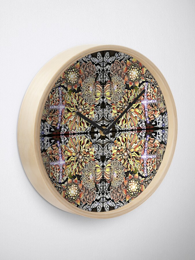 Alternate view of Fall Ribbon, Fabric, and Paper Flowers with Gems Pattern Clock