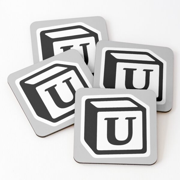 "Letter ""U"" Block Personalised Monogram Coasters (Set of 4)"