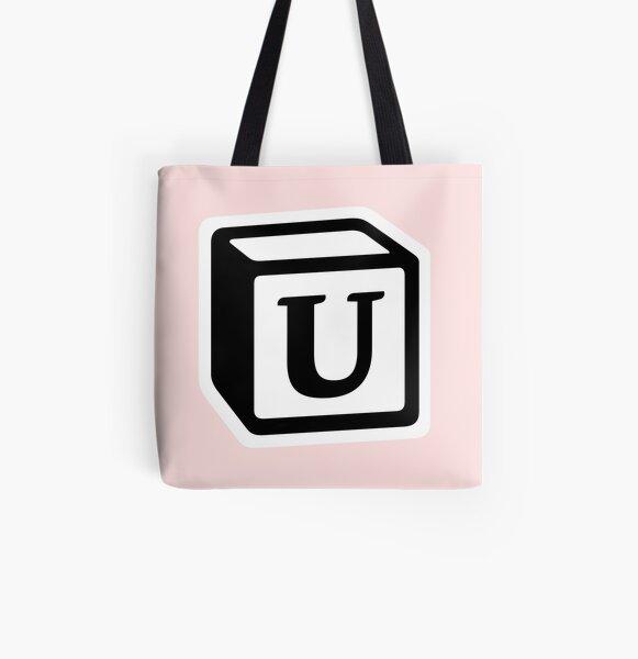 """Letter """"U"""" Block Personalised Monogram All Over Print Tote Bag"""