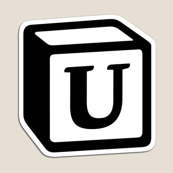"Letter ""U"" Block Personalised Monogram Magnet"
