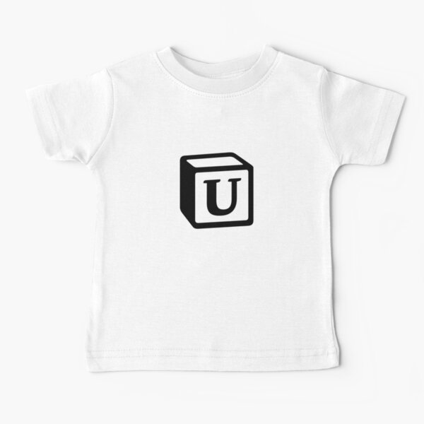 "Letter ""U"" Block Personalised Monogram Baby T-Shirt"