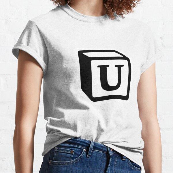 "Letter ""U"" Block Personalised Monogram Classic T-Shirt"