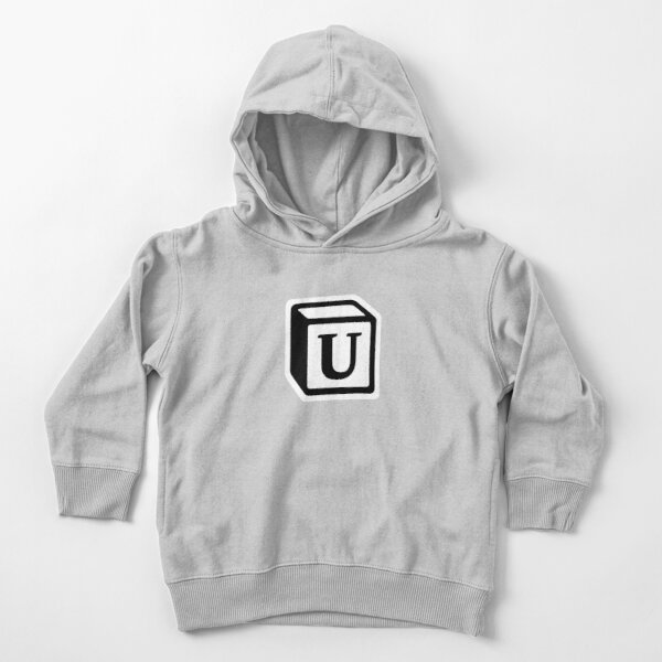 "Letter ""U"" Block Personalised Monogram Toddler Pullover Hoodie"