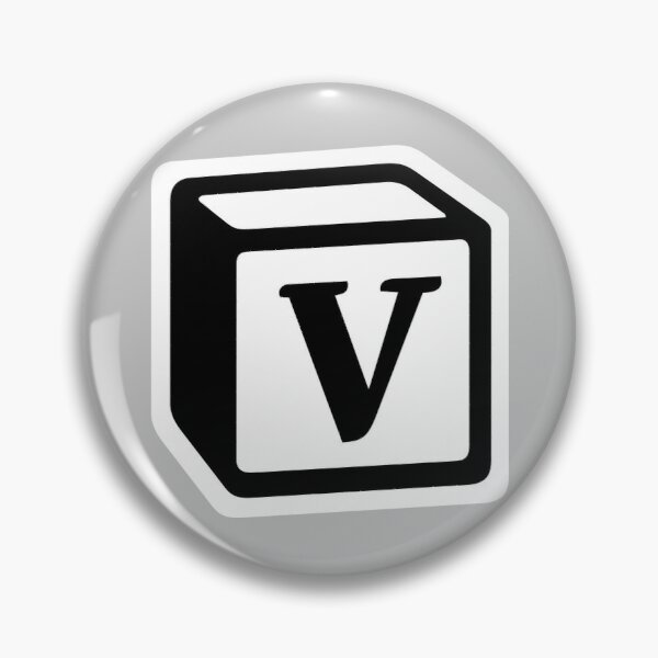 "Letter ""V"" Block Personalised Monogram Pin"