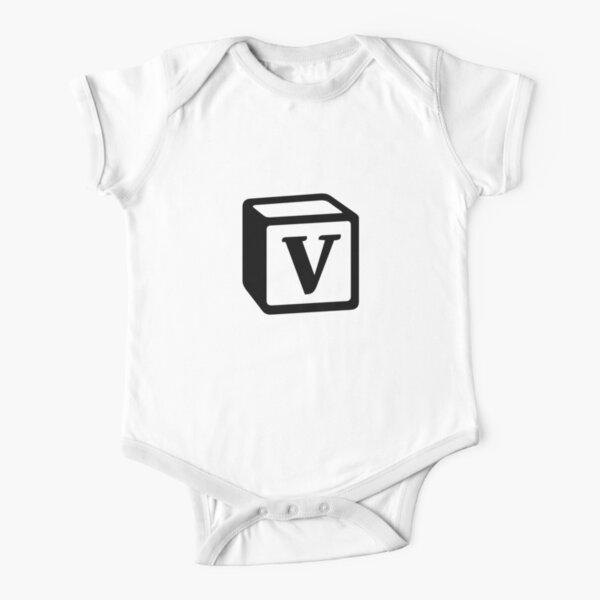 "Letter ""V"" Block Personalised Monogram Short Sleeve Baby One-Piece"