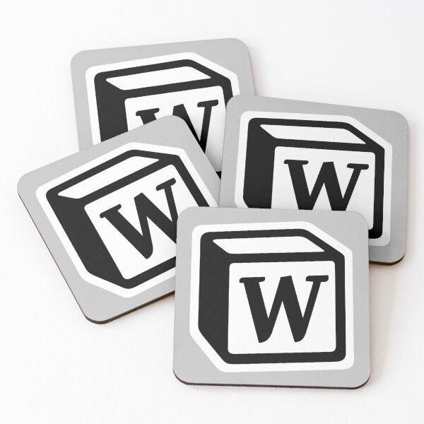 "Letter ""W"" Block Personalised Monogram Coasters (Set of 4)"