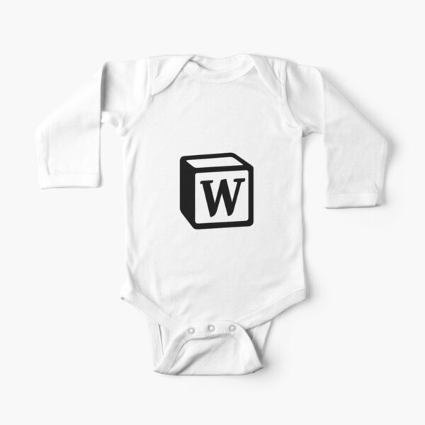 "Letter ""W"" Block Personalised Monogram Long Sleeve Baby One-Piece"