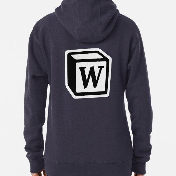 """Letter """"W"""" Block Personalised Monogram Pullover Hoodie"""