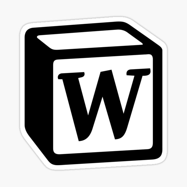 "Letter ""W"" Block Personalised Monogram Sticker"