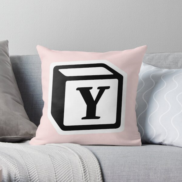 "Letter ""Y"" Block Personalised Monogram Throw Pillow"