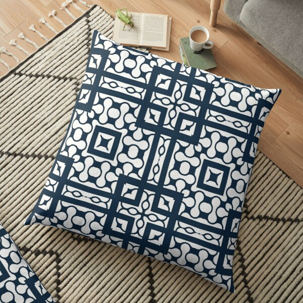 Modern Abstract Geometric Black White Pattern Design 702 Floor Pillow