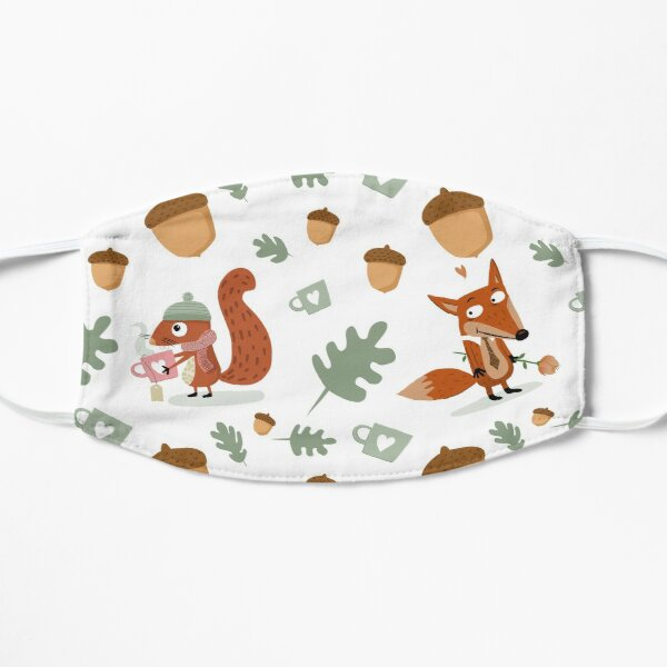Fox and squirrel autumn pattern Flat Mask
