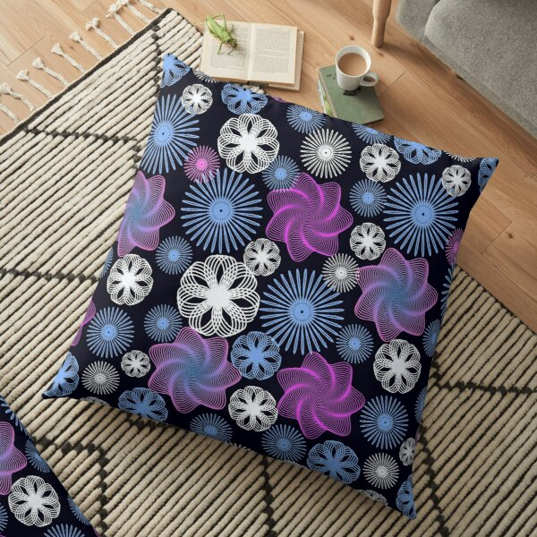 Dancing Spirographs Floor Pillow