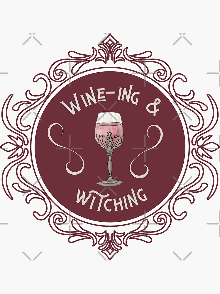 Wine-ing & Witching Illustration in Watercolor by WitchofWhimsy