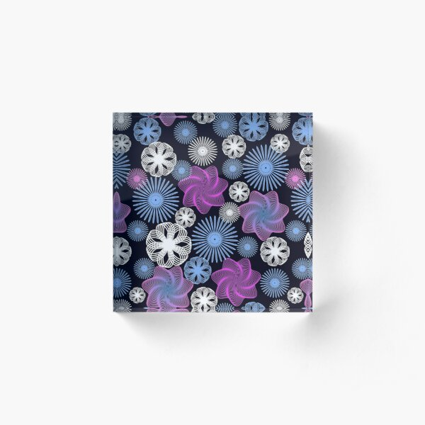 Dancing Spirographs Acrylic Block