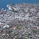 aerial view of Hobart city/port area by gaylene