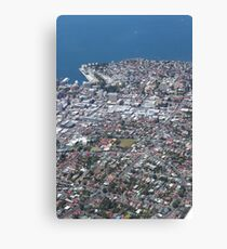 aerial view of Hobart city/port area Canvas Print