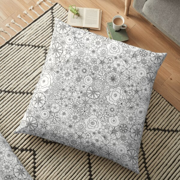 Sixties Stunners in Black and White Floor Pillow