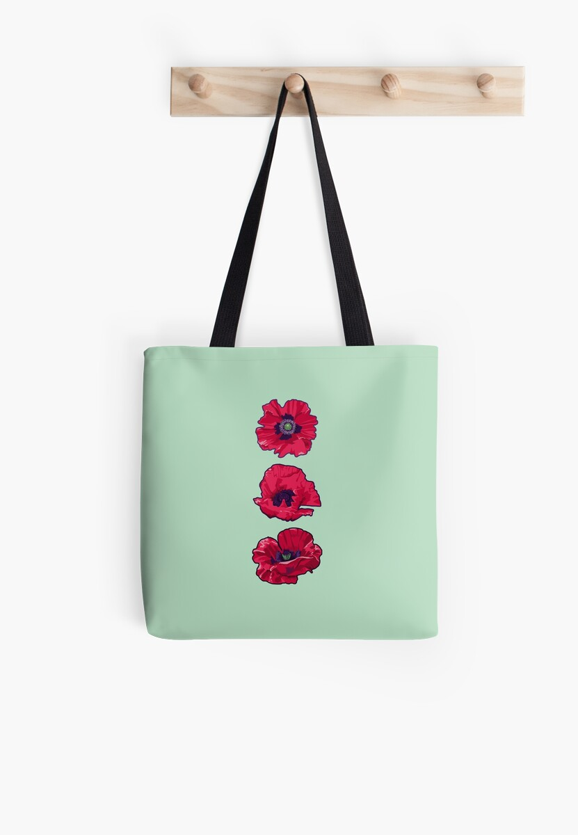 Poppies August Birth Flower Tote Bags By Lindsayd Redbubble