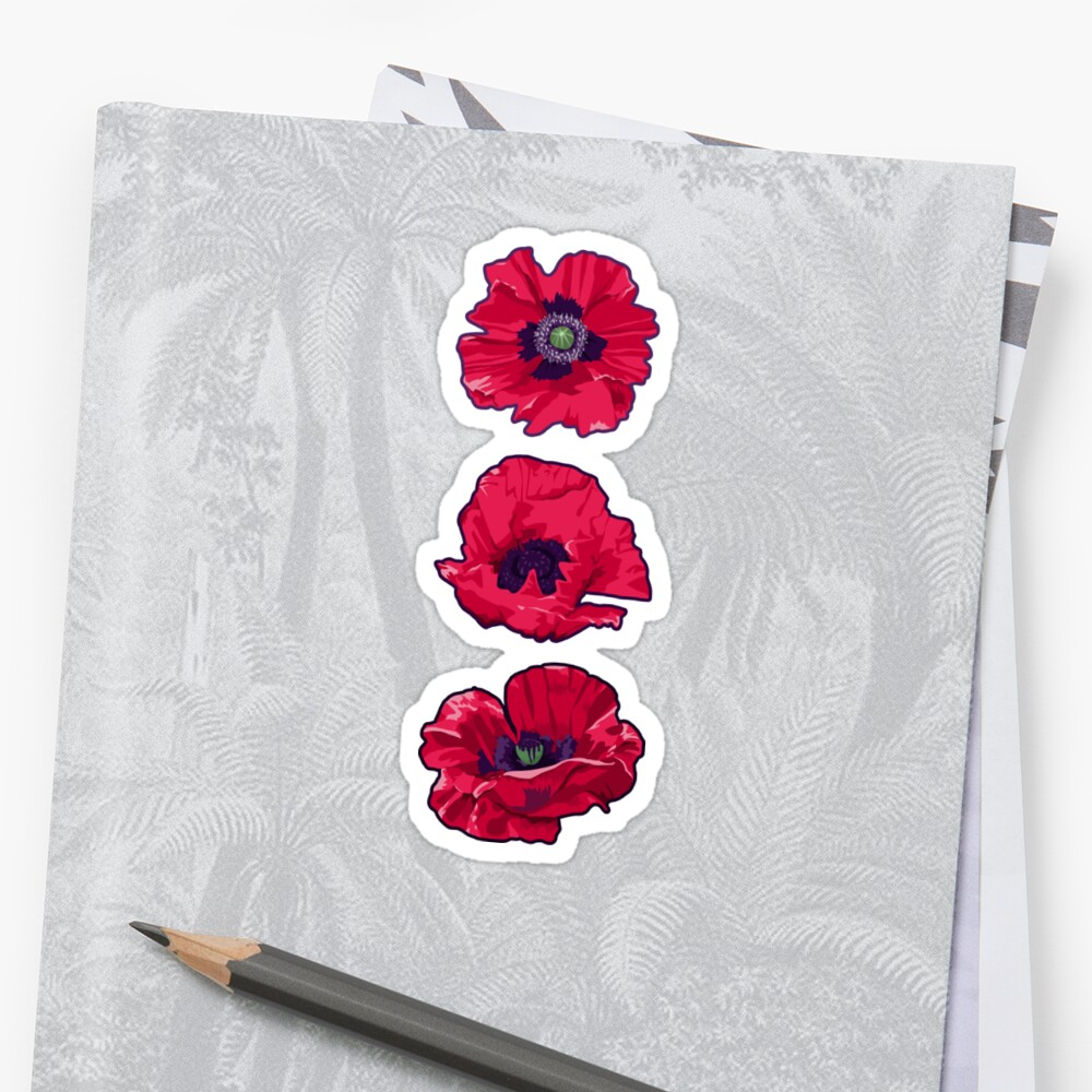Poppies august birth flower stickers by lindsayd redbubble poppies august birth flower by lindsayd mightylinksfo