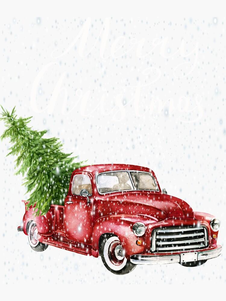Red Truck Merry Christmas Tree Vintage Red Pickup Sweatshirt by ewvtf247