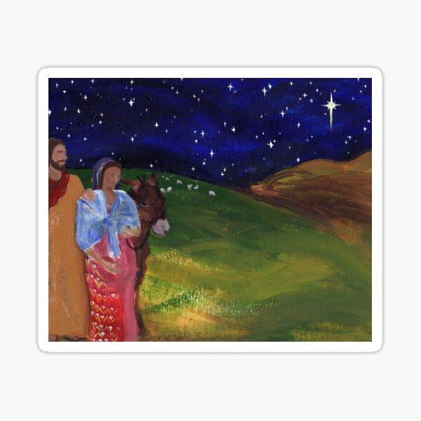 Holy Family Traveling by Starlight Sticker