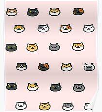 Neko Atsume Kitty Collector Cat Faces Poster